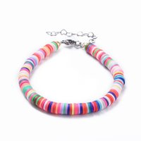 Wholesale handmade clay bead necklace resale online - Handmade Polymer Clay Heishi Colorful Beads Bracelets and Necklaces Jewelry for Women Gifts Birthaday Gifts F50
