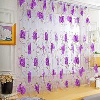 goldene schals großhandel-Reben Blätter Tüll Türfenstervorhang Drapieren Panel Sheer Schal Volants Tüll Vorhang Fenster Dekoration
