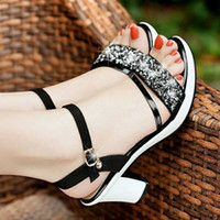 Wholesale small wedges sandals for sale - Group buy Unique2019 Coarse Ma am Sandals Girls With Peep toe Small Fresh Joker Women s Shoes Tide