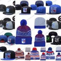 new york beanie hüte großhandel-Herren New York Rangers Eishockey stricken Mütze Stickerei verstellbarer Hut bestickte Snapback Caps blau weiß grau genäht Strickmütze