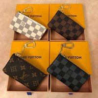 kadın deri fermuarlı cüzdanlar toptan satış-4 renk Lüks Anahtar Kılıfı kutusu ile Zip Cüzdan Para Deri Cüzdan Kadın Erkek Anahtarlık çanta 62650