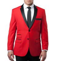 esmoquin para novio rojo al por mayor-2019 Moda Red Wedding Tuxedos Slim Fit Novio Trajes de ventilación lateral Padrinos de boda personalizados Fiesta de baile (Chaqueta + Pantalones + Corbata) Por encargo