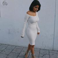 vestido de noche corto negro blanco al por mayor-Mujeres Hombro ajustado de la fiesta de noche corto de manga larga vestido del club del vestido blanco de Bodycon de los vestidos Vestido Negro elegante otoño invierno