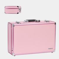 caixinha de lâmpada venda por atacado-Hot Caso Cosmética Travel portátil com 6 lâmpada de luz ajustável com espelho multi-camada de cor Grande Box maquiagem LED Acompanhamento Box