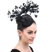Wholesale vintage cocktail jewelry for sale - Group buy Vintage Black Sinamay Fascinators feather Racing Season Hats Ladies Wedding Hat for Cocktail Party Event Occasion High Quality SYF587