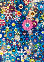 calla lily pintura al óleo fotos al por mayor-Takashi MURAKAMI flores rojas decoración de pared Arte Impresión en seda Poster 68686