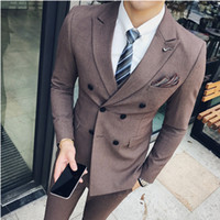 homens blazers formais venda por atacado-Feito sob encomenda do casamento o melhor homem groomsman dos homens smoking + calças terno formal jacket + colete double stripe blazer gentalman dos homens de mama