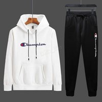 Wholesale white men suit brand resale online - Men C letter Tracksuit Hoodie Long Sleeve hooded pullover Tops Pants Trousers Two Pieces Outfits set Casual Sport Suit LJJA2956