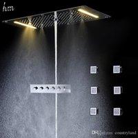 электрический душ ливень оптовых-Вставить потолочное Осадков дожди Set Led Electric Power Ванная комната 5 Way Скрывать Установить термостатический смеситель для душа Установить 20180927 #