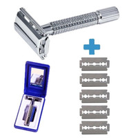 Wholesale shaving razors blades for sale - Group buy New Professional Double Edge Safety Razor for Men Long Handle for Comfortable Wet Shaving Blade Refills