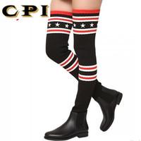 ingrosso cosce calze lunghe-Calzature di marca CPI Stivali da donna sopra il ginocchio Stivali alti Scarpe invernali a maglia lunga coscia alta elastica sottile AC-74