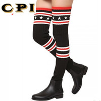 носки для похудения оптовых-CPI  Socks Boots Women Over The Knee High Boots Autumn Winter Knitted Shoes Long Thigh High Elastic Slim AC-74