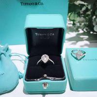bijoux simples en diamant achat en gros de-bijoux pour femmes bagues en argent sterling 925 bague en diamant panier marque luxueux diamant haute teneur en carbone Tear drop forme simple anneau couple personnalisation