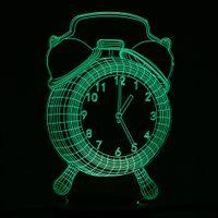 uhr nacht led-design großhandel-Bunter Wecker Design USB Nachtlicht 3D LED Lampe