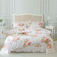 Wholesale ruffled bedding queen online - Pink Green Purple Cotton Girls Queen King size Bedding Set Korean Princess Floral Print Bed Sheet set Duvet Cover Pillowcase