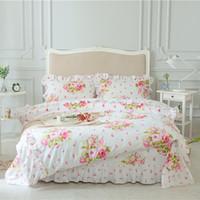 blumenbettwäsche setzt könig großhandel-Rosa Grün Lila 100% Baumwolle Mädchen Königin King Size Bettwäschesatz Koreanische Prinzessin Blumendruck Bettlaken Set Bettbezug Kissenbezug