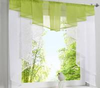 fenster-designs großhandel-Fliegende Tulle Küchenvorhang für Fenster Balkon Rom Plissee Design Nähte Farben Voile Sheer Drape Weiß Garn Vorhänge Kurz