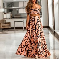 богемная мода макси юбка оптовых-Fashion 2019 Striped Print Two Piece Set Women Straps Maxi Party Skirt Bohemian Set Sexy Crop Tops And Maxi Skirt Suits