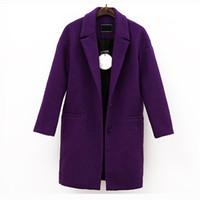 wollmantel lila großhandel-Frauen beiläufige lila Wollmantel Oberbekleidung