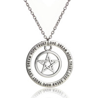 Wholesale antique compass pendant for sale - Group buy Compass Pentagram Yin Yang Dream Hope Trust Necklace Antique Silver Engraved Round Pendant Necklace For Women Inspire Fashion Jewelry