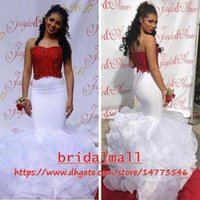 ingrosso laurea bianca nera-Sexy 2019 Black Girl White Mermaid Prom Dresses Spaghetti Strap Arabo Long Evening Dress Backless African Formal Party Abiti per la laurea