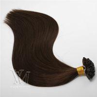 Wholesale long light brown hair extensions resale online - U tip Human Hair Extension Colorful Nail Hair Brazilian Human Hair Long Natural Black Blonde Keratin g strand