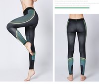 ingrosso danza pantaloni stretti yoga neri-2019 nuova moda Nero Stripe Yoga Stitching Fitness Pantaloni da corsa Yoga Dance Calzature stretti Sport pantaloni Yoga femminile