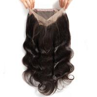 kraliçe dantel kapanışı toptan satış-Bebek saçlı Kraliçem bakire insan saçı hd 360 dantel kapatma frontal vücut dalgası çok natrual serbest parçası görünüyor