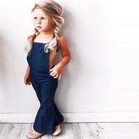 sangle de cloche bébé achat en gros de-2018 Mode Enfant en bas âge Enfants Bébé Fille Sans Manches Dos Nu Sangle Denim Combi Romper Jumper Bell Bottom Trousers Été