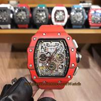 caja de gafas de goma al por mayor-11-03 Big Date V2 Caja de fibras de carbono rojo Flyback Chrono Skeleton Black Dial Automático Reloj para hombre Sapphire Glass Rubber Strap Two Tone Case