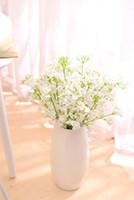 fête à la fourchette achat en gros de-Artificielle Pivoine Fleur 2 étoiles en forme de fourche Gypsophila Parti Faux soie fleur de mariage usine de décoration de la maison Fournitures fleur en soie EEA527