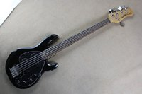 Wholesale music man guitars for sale - Group buy Black music man StingRay strings Electric Bass Guitar with V Battery active pickups