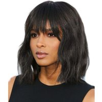 Wholesale Full Lace Human Hair Wigs Brazilian Remy Hair Short Bob Wave Wigs With Bangs Natural Hairline