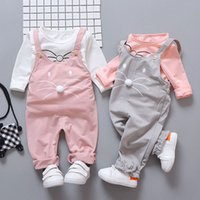 Wholesale cute baby girl clothes summer wear online - Spring newborn baby girls clothes sets fashion suit T shirt pants suit baby girls outside wear sports suit clothing sets