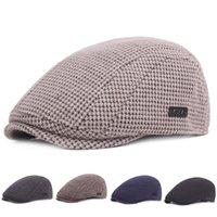 boina de invierno para hombre al por mayor-El invierno caliente espesada algodón para hombre simple casquillo de la boina sombreros gorras de visera Estilo creativo de rayas Beret