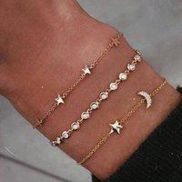 combinações de estrelas venda por atacado-3 Pçs / set Moda Incrustada Pulseira De Cristal Cadeia Lua Estrela Clássica Multi-camada de Ouro Pulseira Set Combinação