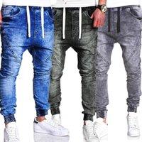 ingrosso jeans harem neri-Jeans allacciati da uomo stile casual con jeans elastici in vita nera elasticizzata