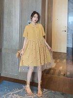 gelbe spitzekleidfrauen großhandel-Marke designer kleid luxus kleid sommerkleider mode erfrischenden stil spitze design schönheit damen kleidung gelb farbe größe s-l optional