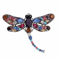 Wholesale good brooches resale online - Fashion good quality animal brooch vintage water drill large water drill large dragonfly brooch set drill