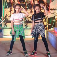 ingrosso maglietta moderna delle ragazze-Modern Girls Boys Ballroom Jazz Hip Hop Concorso di danza Costume per bambini T Shirt Top Pantskirt Danza Abbigliamento Stage Abiti