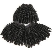 bakire tüyü toptan satış-Kinky Kısa Funmi İnsan Saç Paketler Afro Kinky Kıvırcık Saç Örgü 100% Işlenmemiş 9A Perulu Bakire Saç Uzantıları 3 Paketler Deal Bob