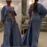 impresionantes vestidos de noche faja al por mayor-Aturde un hombro de la sirena de baile apliques de encaje Vestidos con los marcos del plisado árabe Dubai vestidos de noche más el tamaño de vestido de fiesta