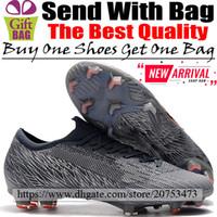 calcetines de fútbol negro naranja al por mayor-Nuevo Botas de fútbol de cuero Diseñador Mercurial Vapors XII FG ACC Zapatos de fútbol Hombre Calcetines bajos baratos Calzas de fútbol Gris Naranja Negro 6.5-12