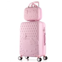Wholesale lovely cosmetic bags for sale - Group buy brand SET Lovely inches girl students trolley inch Cosmetic bag hello Kitty Travel luggage woman rolling suitcase
