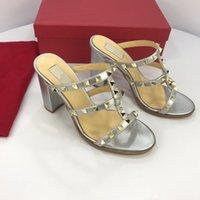 sandalias italianas mujeres al por mayor-2019 mujeres slingbacks sandalias de gladiador de diseñador zapatos de remache de mujer marca italiana sexy zapatos de tacón extremo bombas yz190127