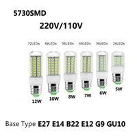 e14 maïs led ampoules 8w achat en gros de-SMD 5730 E27 B22 E14 G9 E12 E26 GU10 Lampe LED 5W 6W 7W 8W 10W 12W 220V 110V 5730 Ultra Bright LED Lampe ampoule de maïs Lustre Lampes