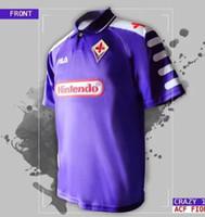 futbol vintage al por mayor-1998 1999 Retro Fiorentina camisetas de fútbol 9 BATISTUTA 10 RUI COSTA Custom Vintage 98 99 Florence Home Football Shirt Camisas de Futebol