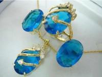 collier jade bleu doré achat en gros de-Charmant cristal bleu pendentif collier bague boucle d'oreille ensemble plaqué or gros cristal de quartz pierre