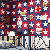 mittelmeer-tapete großhandel-Britischen Stil Mittelmeer Kinderzimmer AB Edition fünfeckigen Stern vertikal gestreifte Tapete Boy Hintergrundbild Captain America