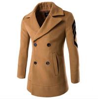 nylon casaco de inverno trincheira venda por atacado-Brasão New Men casaco de lã Moda Abotoamento Magro inverno Trench Misturas casaco longo azul Casacos Casacos Preto Dark Gray
